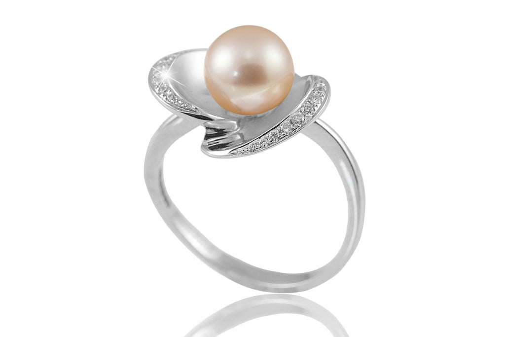 Pink Pearl and Diamond Flower Design 18K White Gold Ring