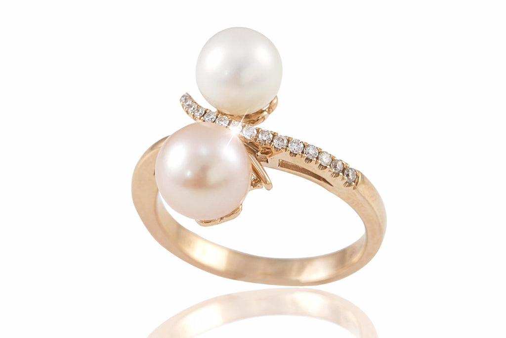 Pink & White Two Colour Pearl and Diamond 18K Rose Gold Ring