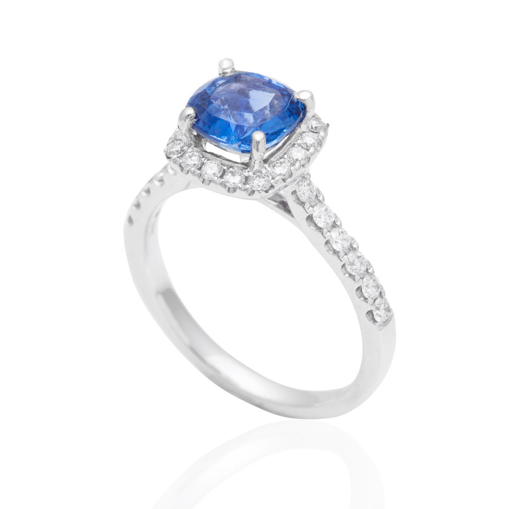 Blue Sapphire and Diamond Engagement 18K White Gold Ring