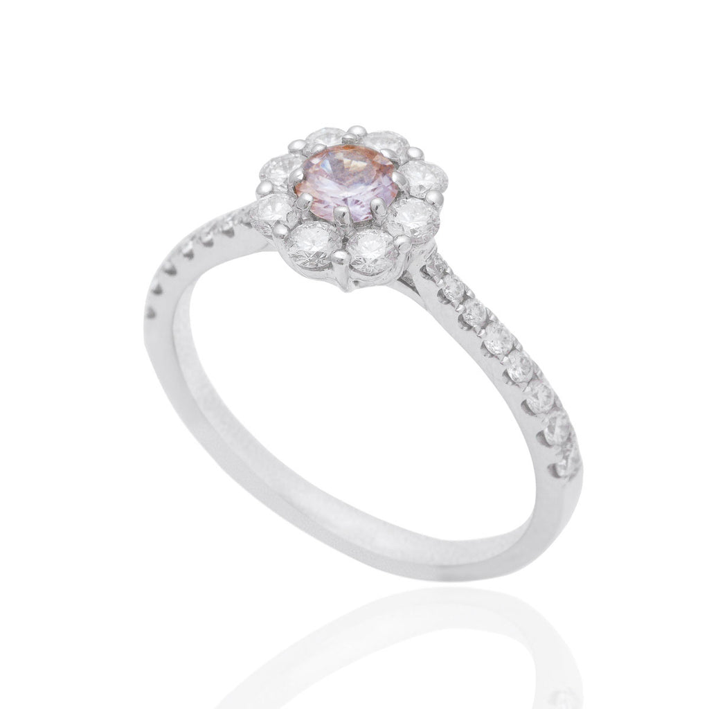 Peach Sapphire and Diamond Cluster Engagement 18K White Gold Ring