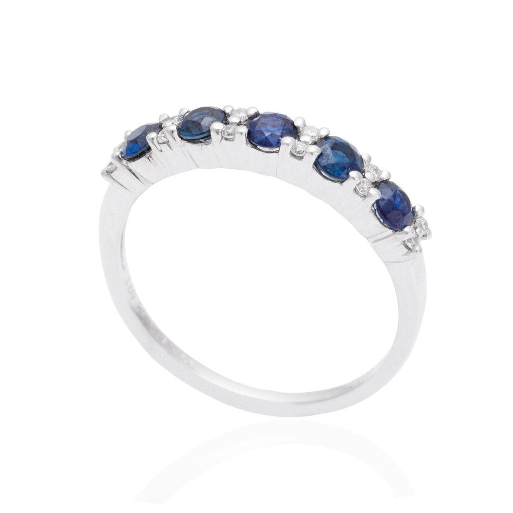 Blue Sapphire and Diamond Half Eternity 18K White Gold Ring OUT OF STOCK