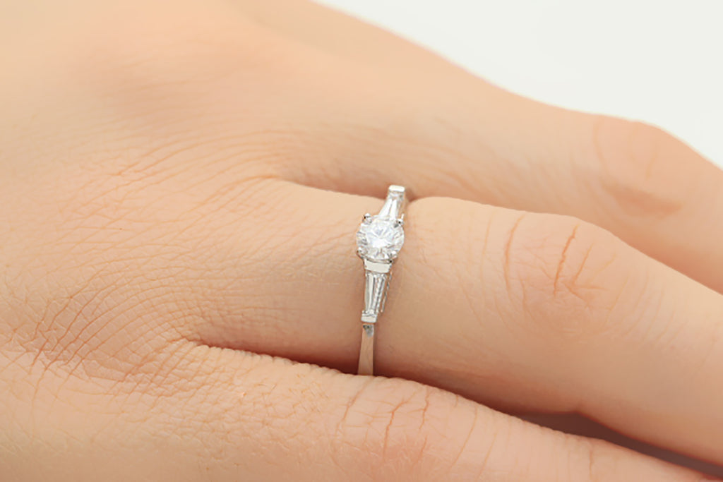 Baguette and Round Brilliant Cut Diamond 18K White Gold Ring