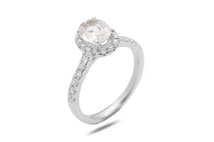 Pink Sapphire and Diamond Oval Halo 18K White Gold Ring