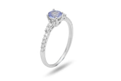 Light Blue Sapphire and Diamond 18K White Gold Ring - OUT OF STOCK