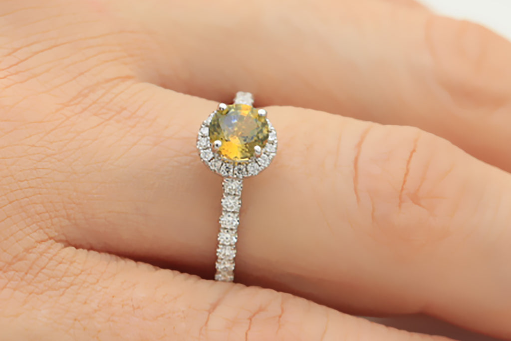 Yellow Sapphire and Diamond Halo 18K White Gold Ring - OUT OF STOCK