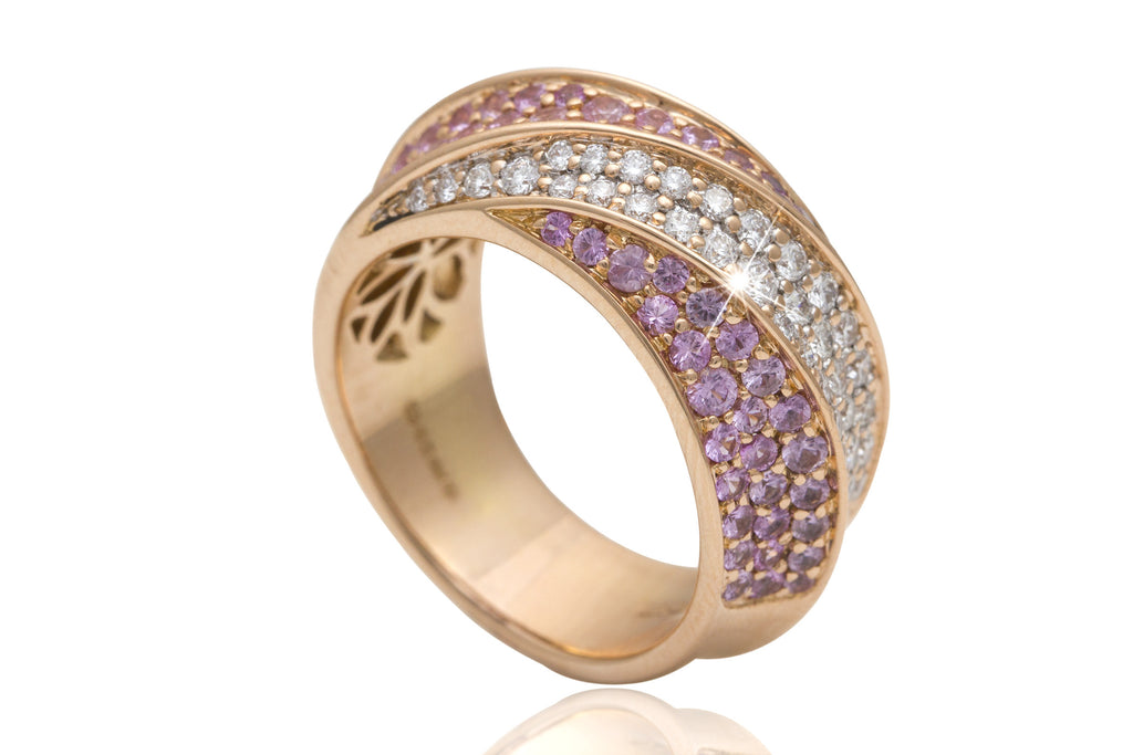 Pink Sapphire and Diamond 18K Rose Gold Dress Ring