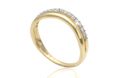 Two Tier Shaped Diamond 18K Yellow Gold Ring