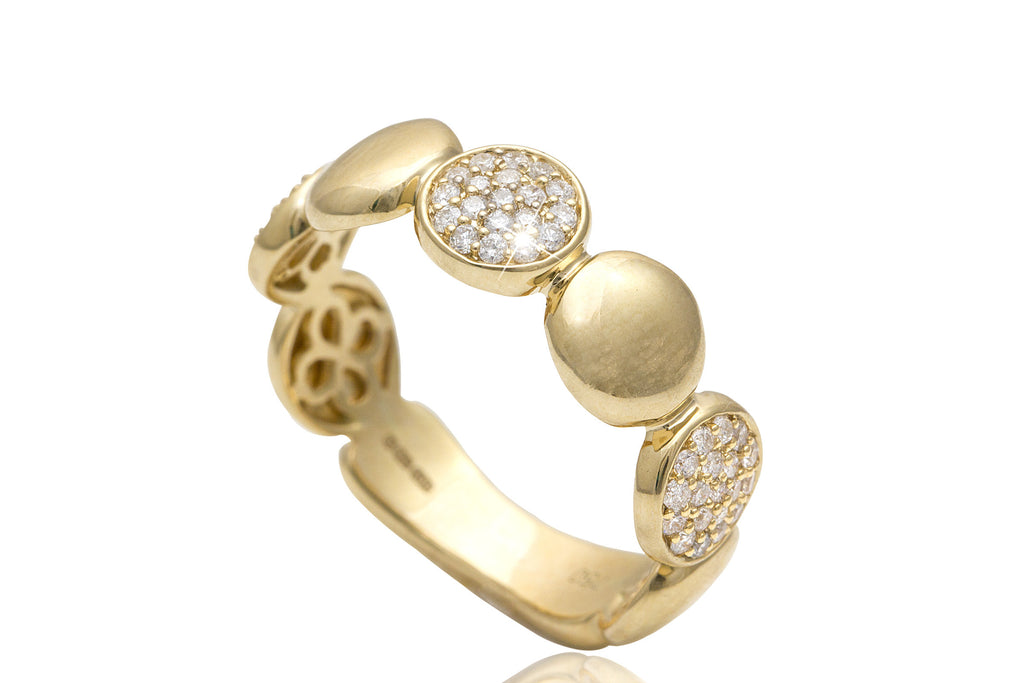 Multi Circular Diamond 18K Yellow Gold Ring