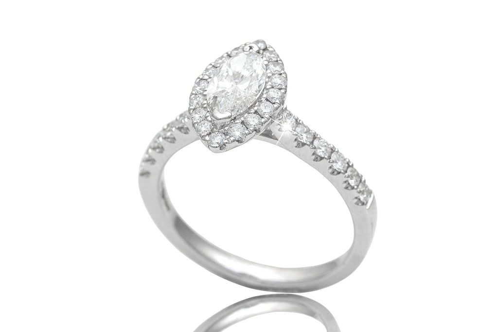 Marquise Cut Halo Diamond 18K White Gold Engagement Ring