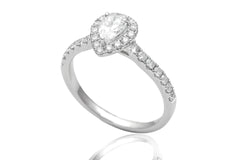 Pear Cut Diamond Halo 18K White Gold Engagement Ring - OUT OF STOCK
