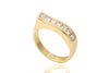 0.50 Carat Princess Cut Curved Diamond 18K Yellow Gold Wedding Band