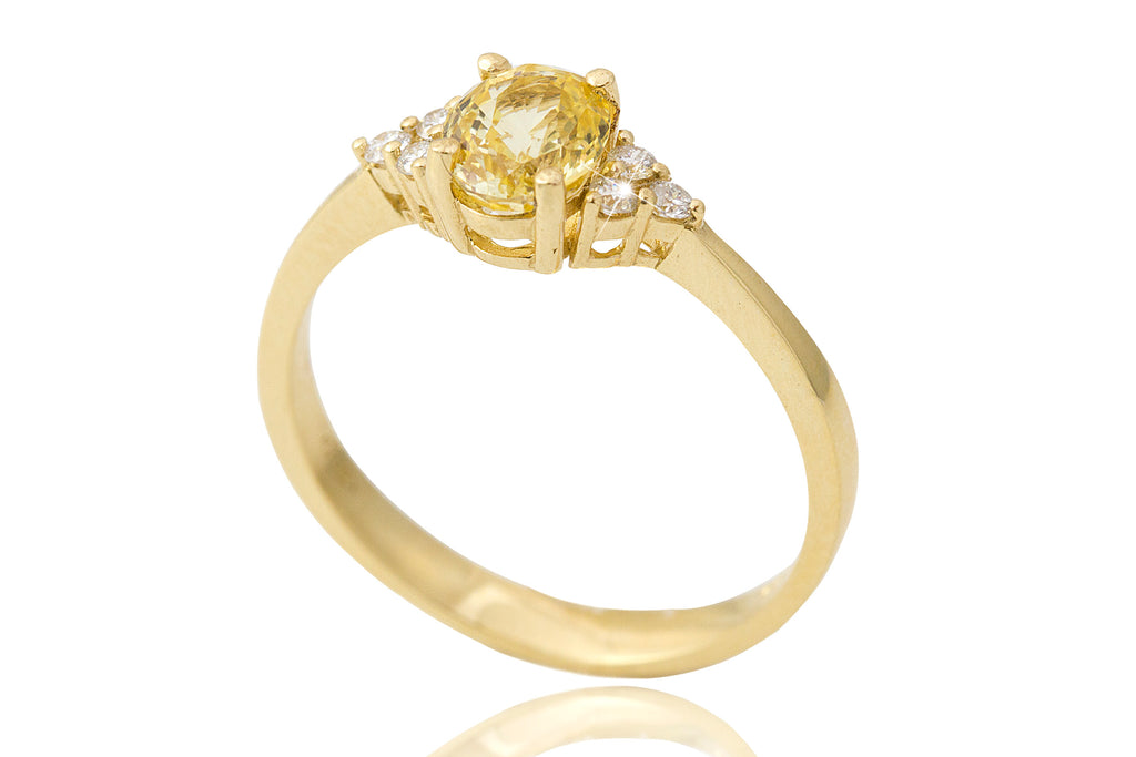 Yellow Sapphire and Diamond 18K Yellow Gold Ring - OUT OF STOCK