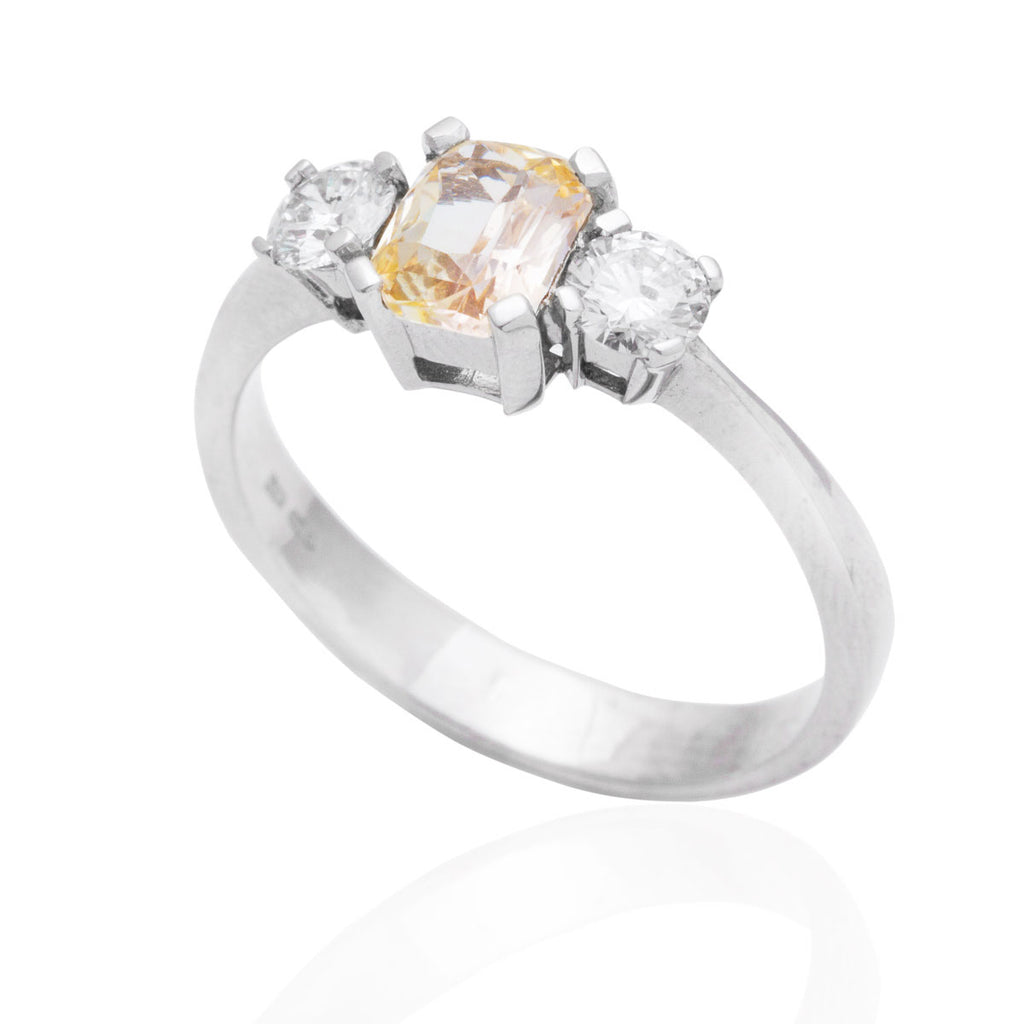 Peach Sapphire and Diamond Trilogy 18K White Gold Ring
