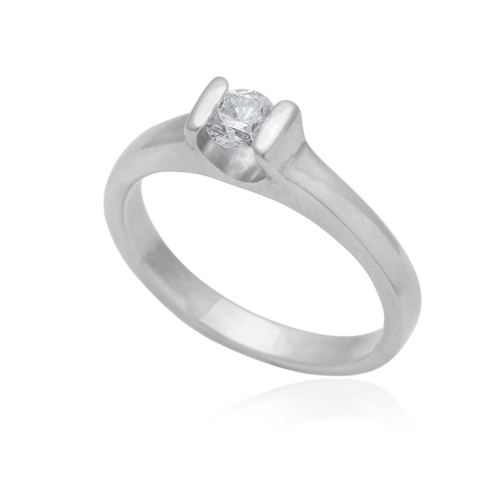 0.25 Carat Tension Set 18K White Gold Diamond Engagement Ring
