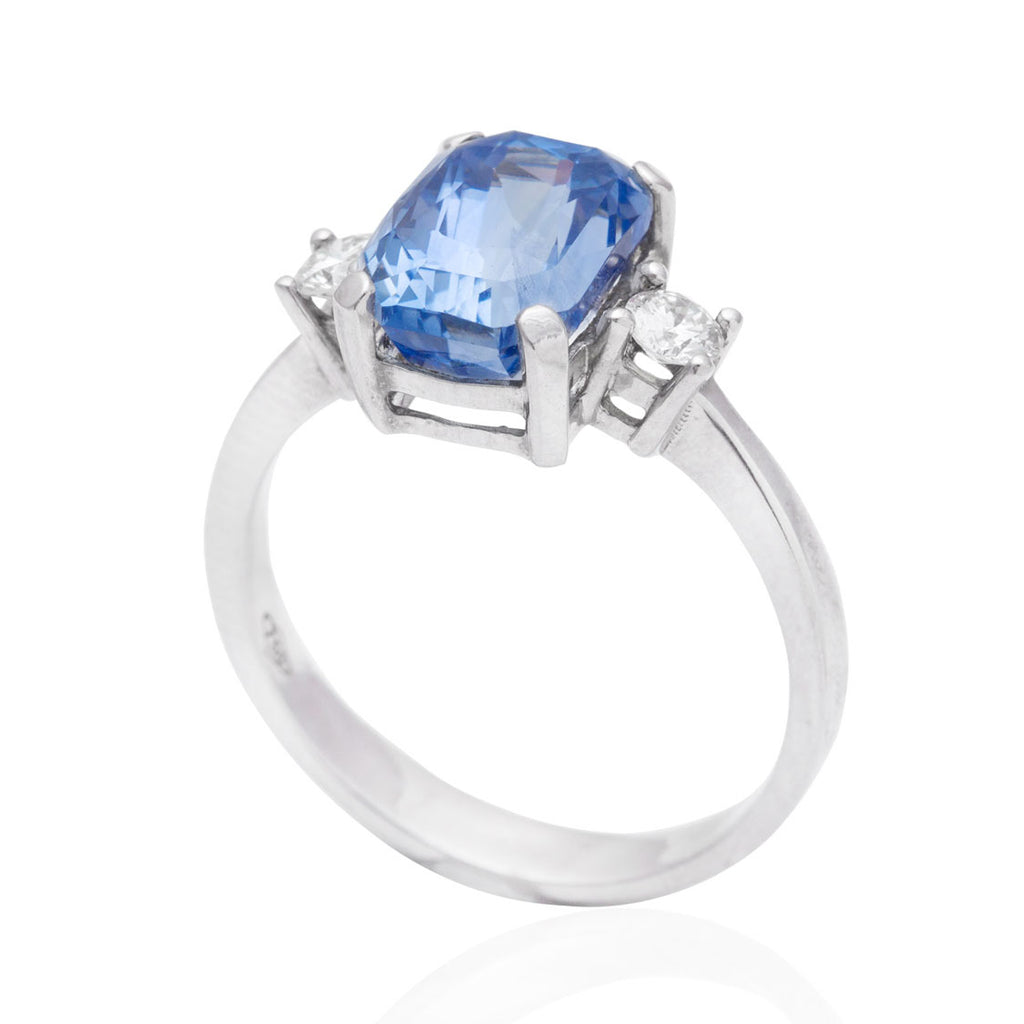 Blue Sapphire and Diamond Rectangular Cut 18K White Gold Ring
