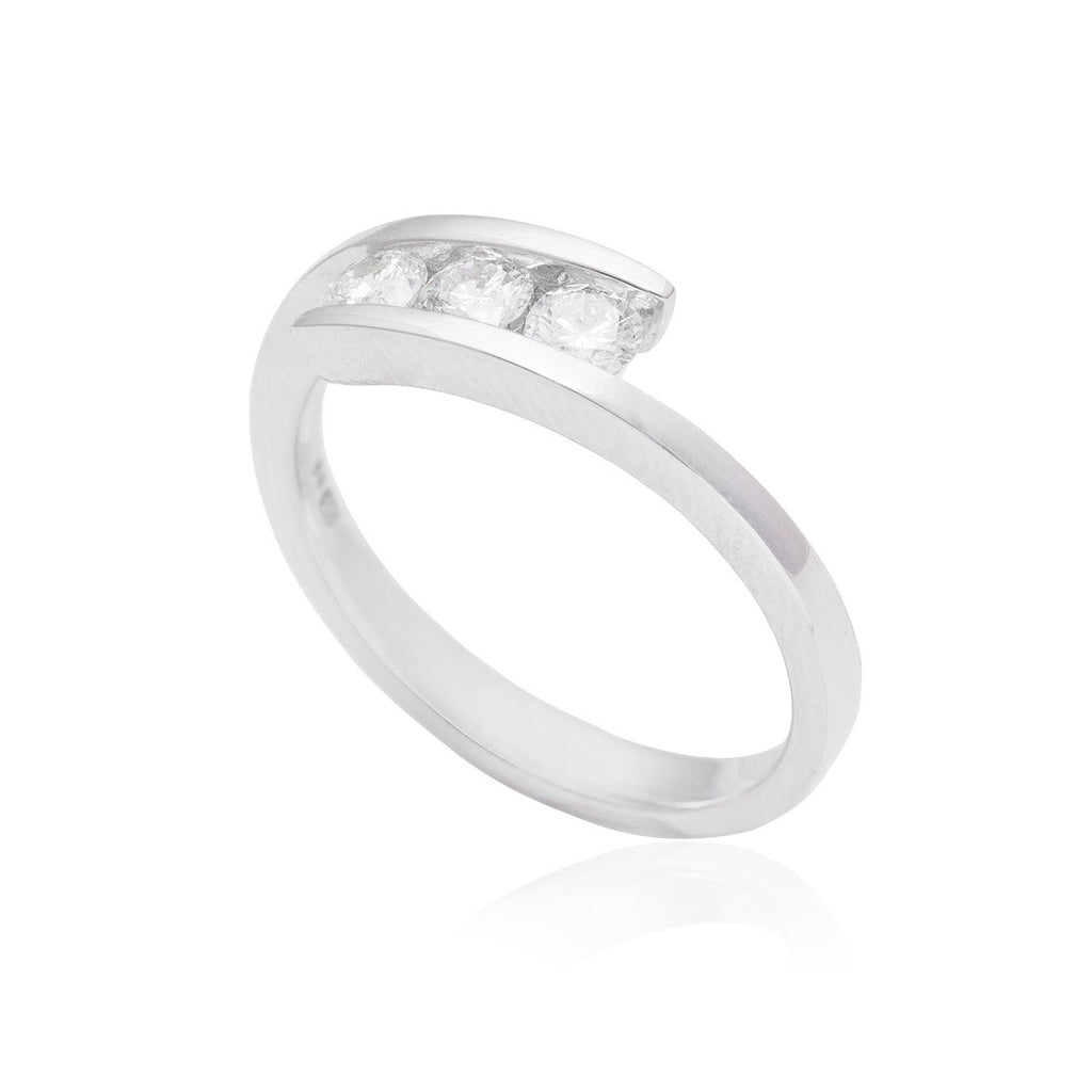 Tension Setting Trilogy 18K White Gold Ring