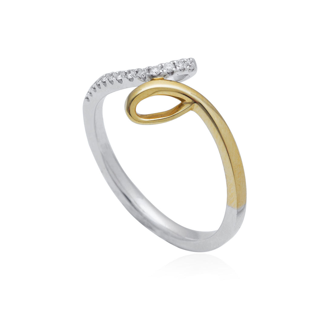 0.09 Carat Cross-Over 18K White/Yellow Gold Diamond Ring