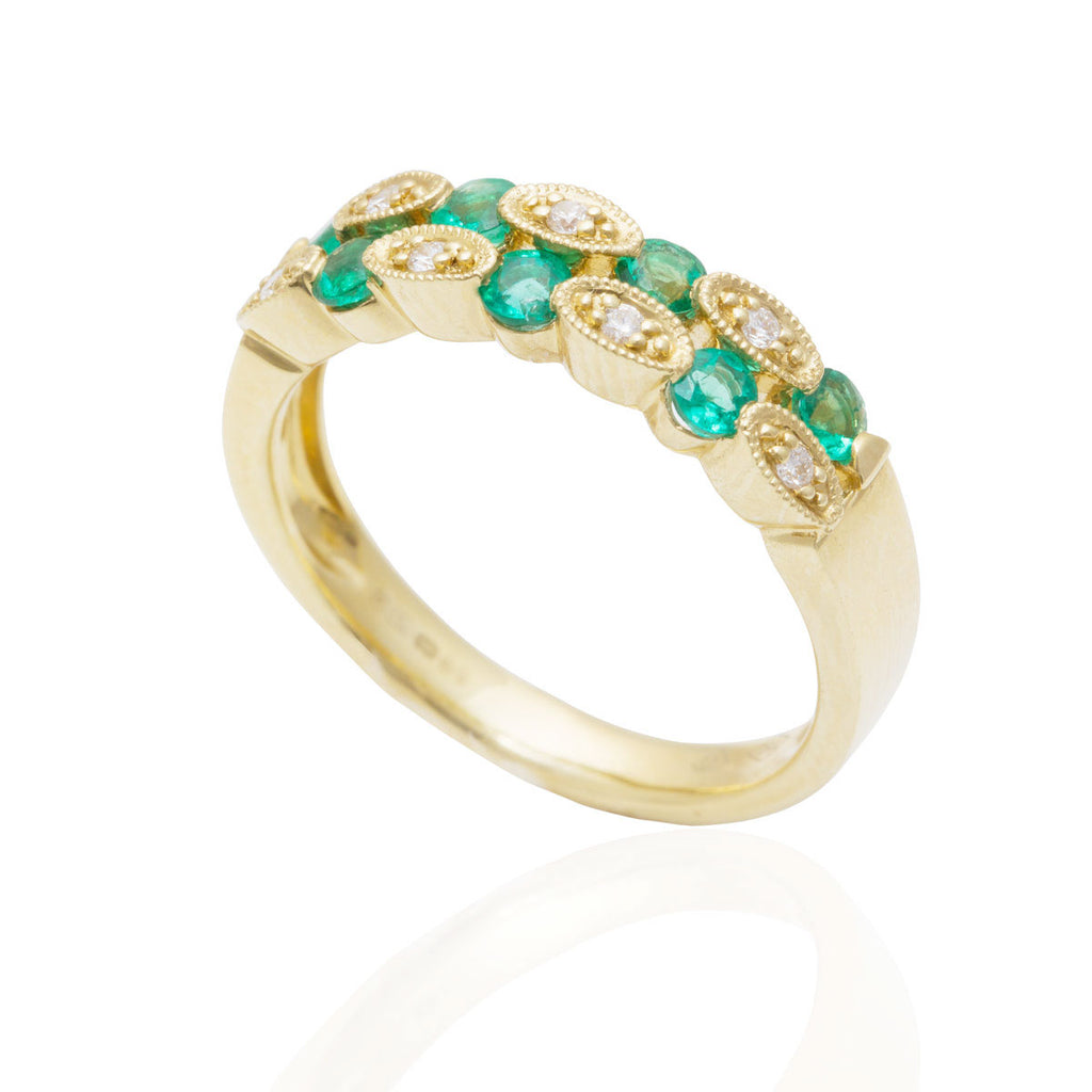 Emerald and Diamond Two Row Mill Grain Set 18K Yellow Gold Ring