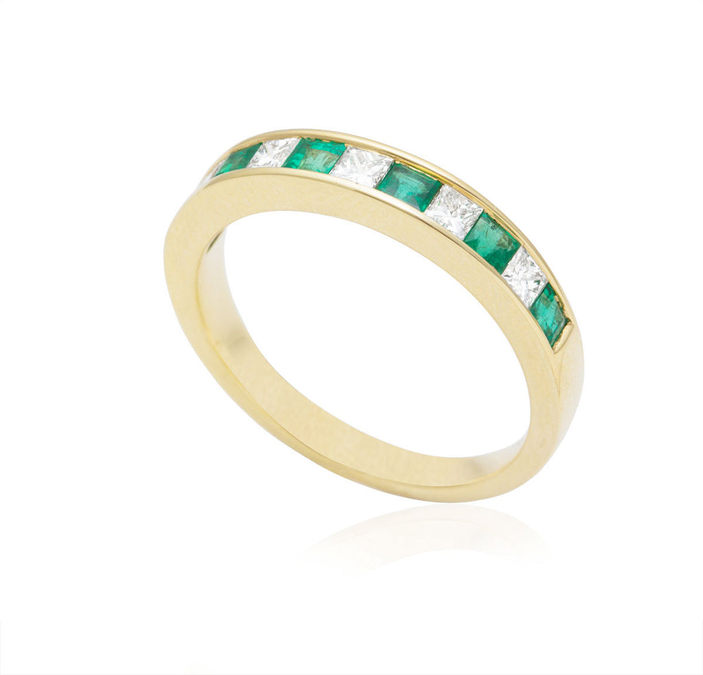 Emerald and Diamond Half Eternity Channel Set 18K Yellow Gold Ring
