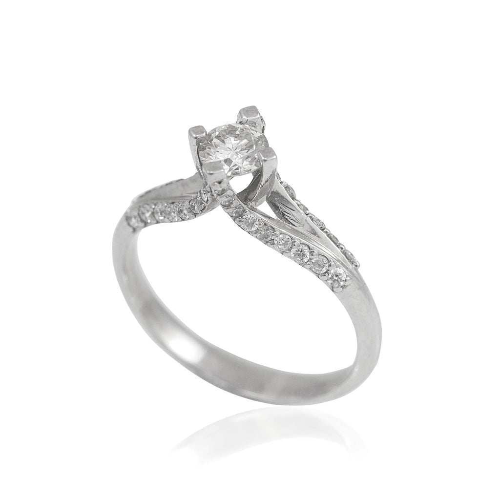 0.45 Center, 0.38 Carat Side Stones Split Shank 18K White Gold Diamond Engagement Ring