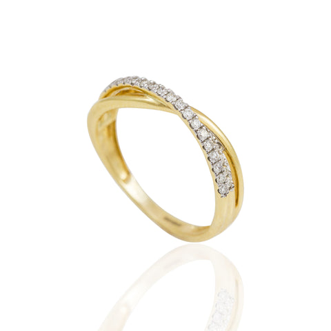 0.23 Carat Round Cut Diamond  Double Cross Over 18K Yellow Gold Wedding Band
