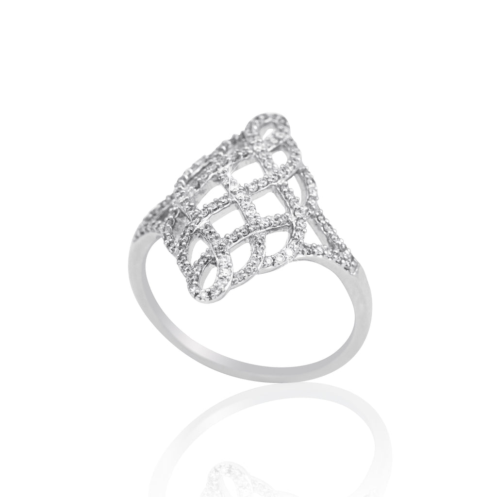 Fancy Mesh Design Diamond 18K White Gold Ring