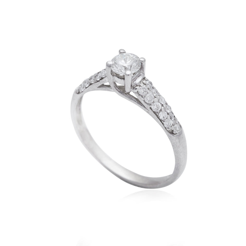 0.36 Center, 0.23 Side Stone Carat Cross-Over 18K White Gold Diamond Engagement Ring