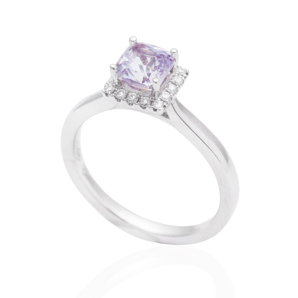 Square Cut Lilac Sapphire and Diamond Halo 18K White Gold Ring