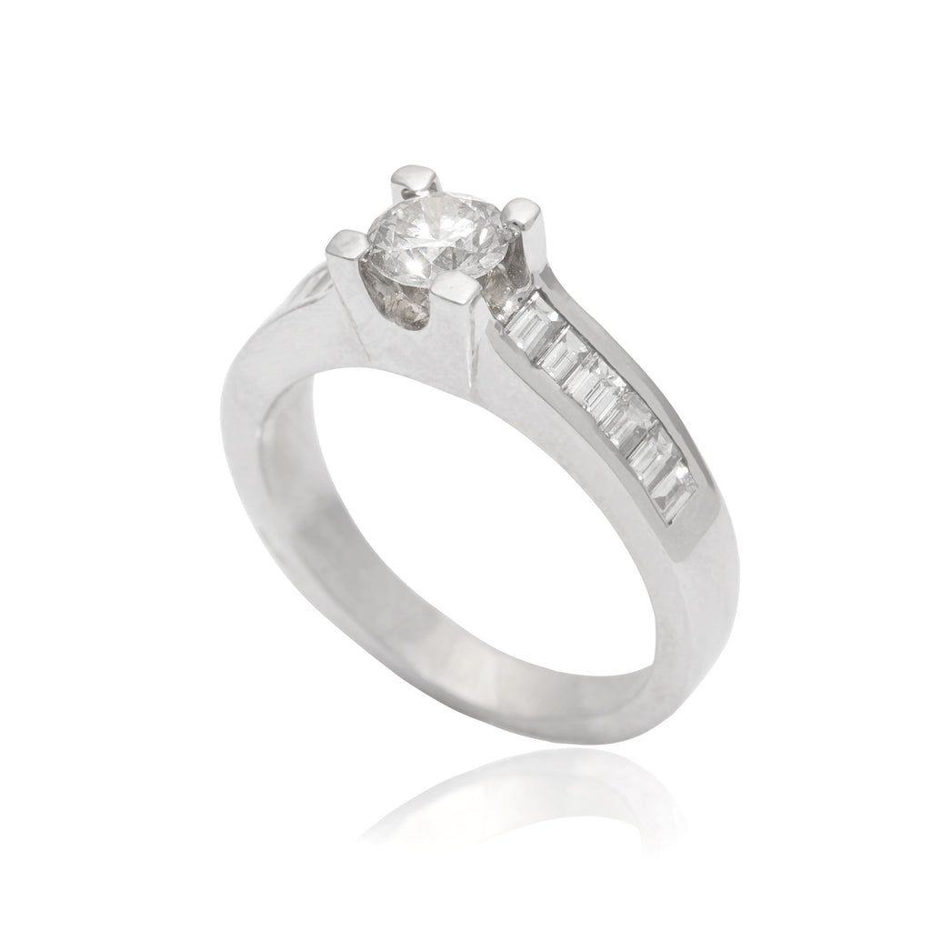 Side Stone 18K White Gold Diamond Engagement  Ring