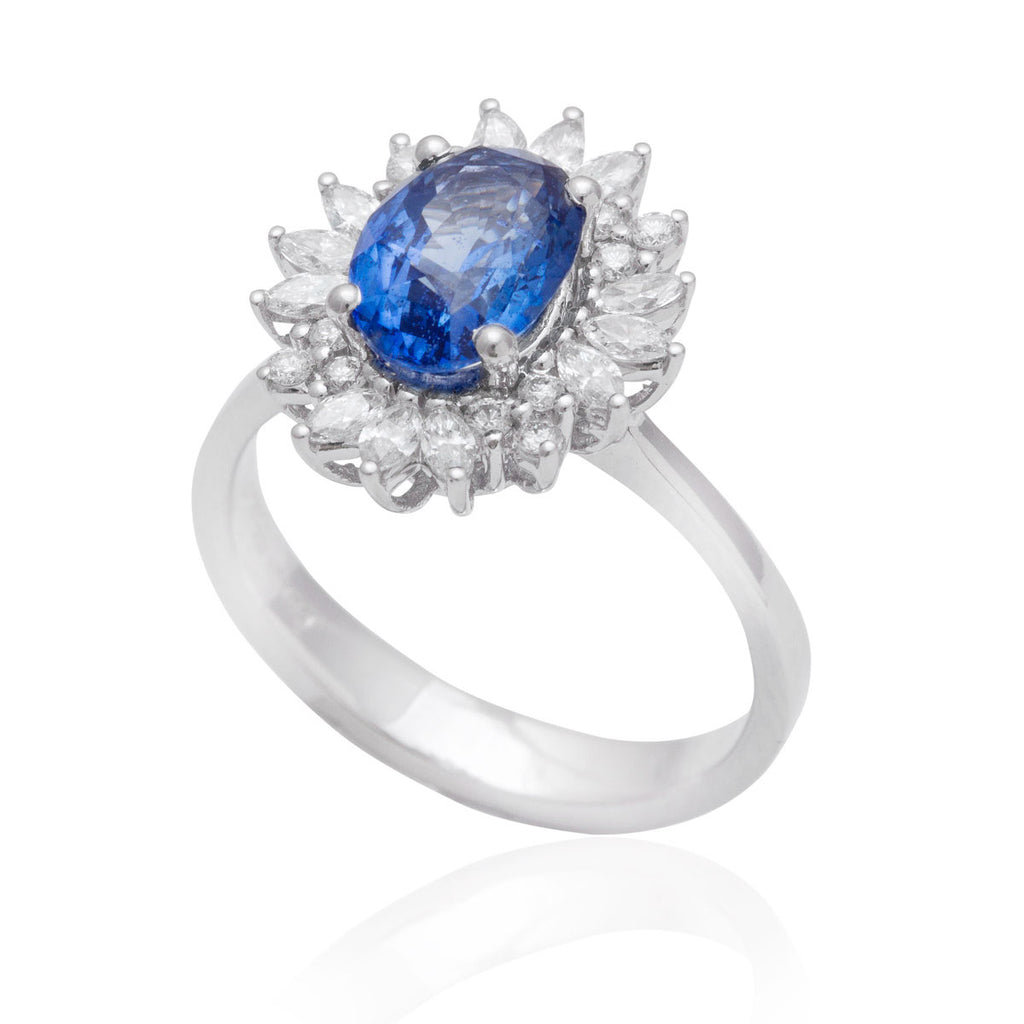 Blue Sapphire and Diamond Cluster 18K White Gold Ring
