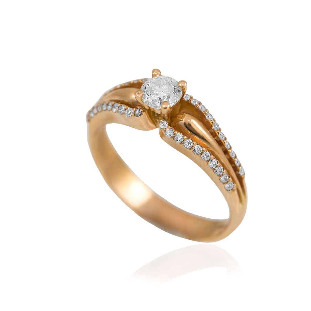 0.65 Carat Domed Shank Diamond 18K Rose Gold Engagement Ring