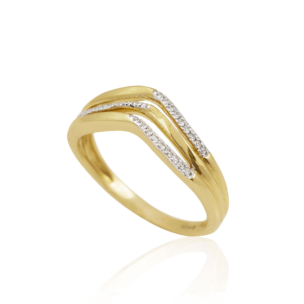 Three Tier Curved 18K Yellow Gold Diamond  Ring