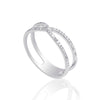 0.24 Carat Diamond Cross Over 18K White Gold Wedding Band
