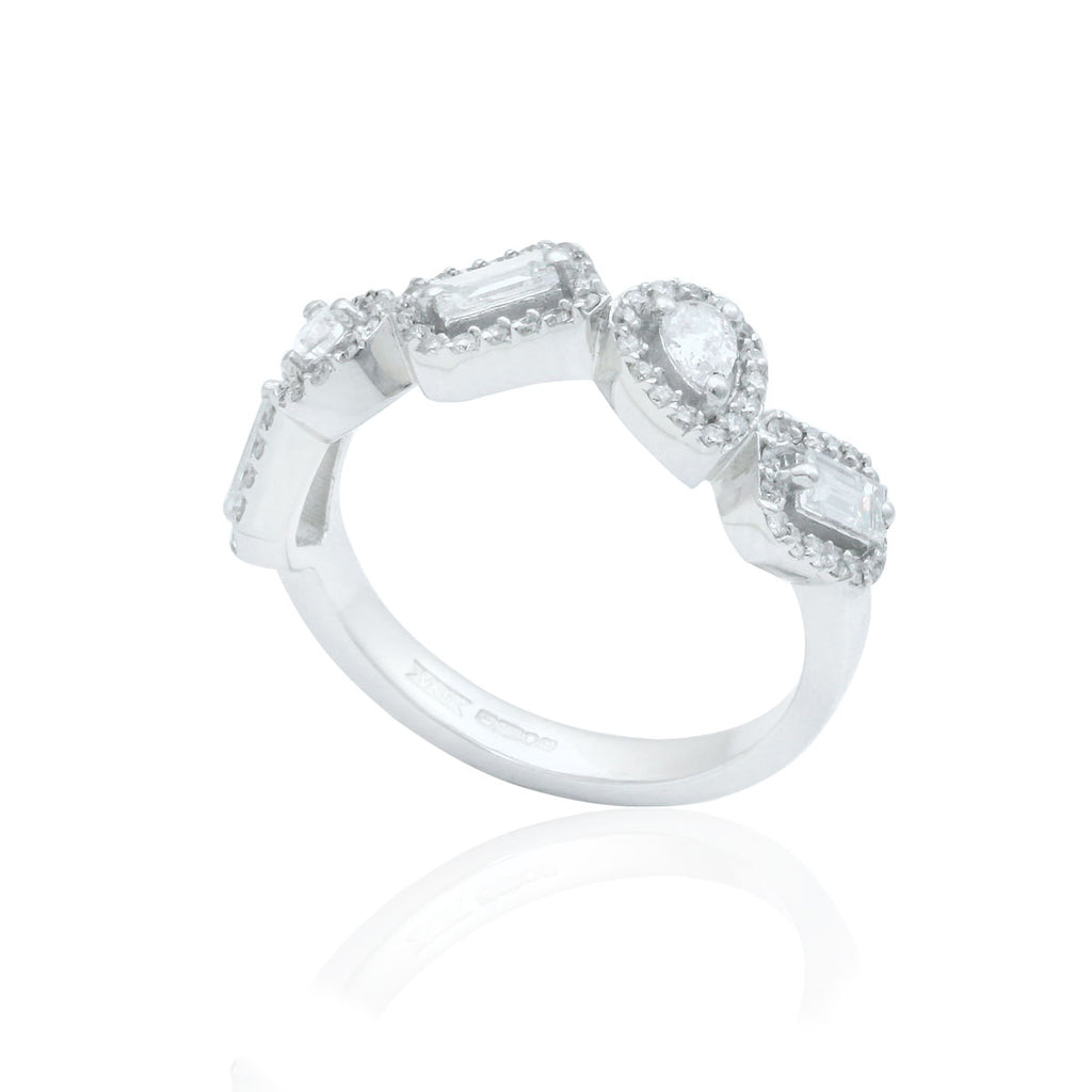 Multi Cut 18K White Gold Diamond Dress Ring