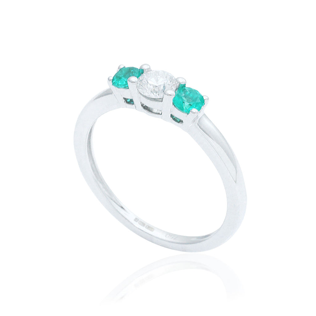 Emerald and Diamond Trilogy 18K White Gold Ring
