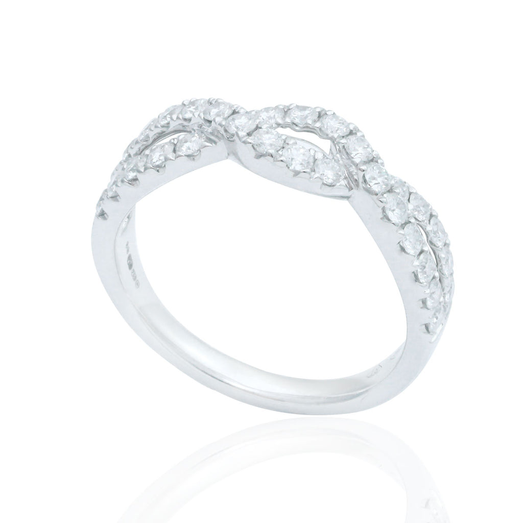 Cross-Over 18K White Gold Diamond Ring