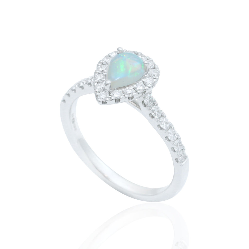 Opal and Halo 18K White Gold Diamond Ring