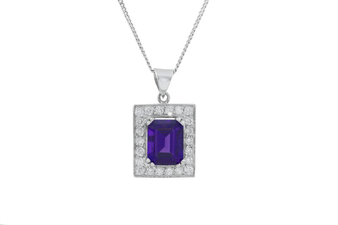 Amethyst and Diamond Square 18K White Gold Pendant
