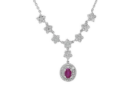 Ruby and Diamond 18K White Gold Necklace
