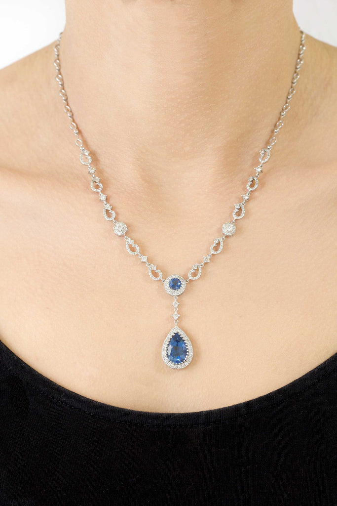 Topaz and Diamond 18K White Gold Necklace