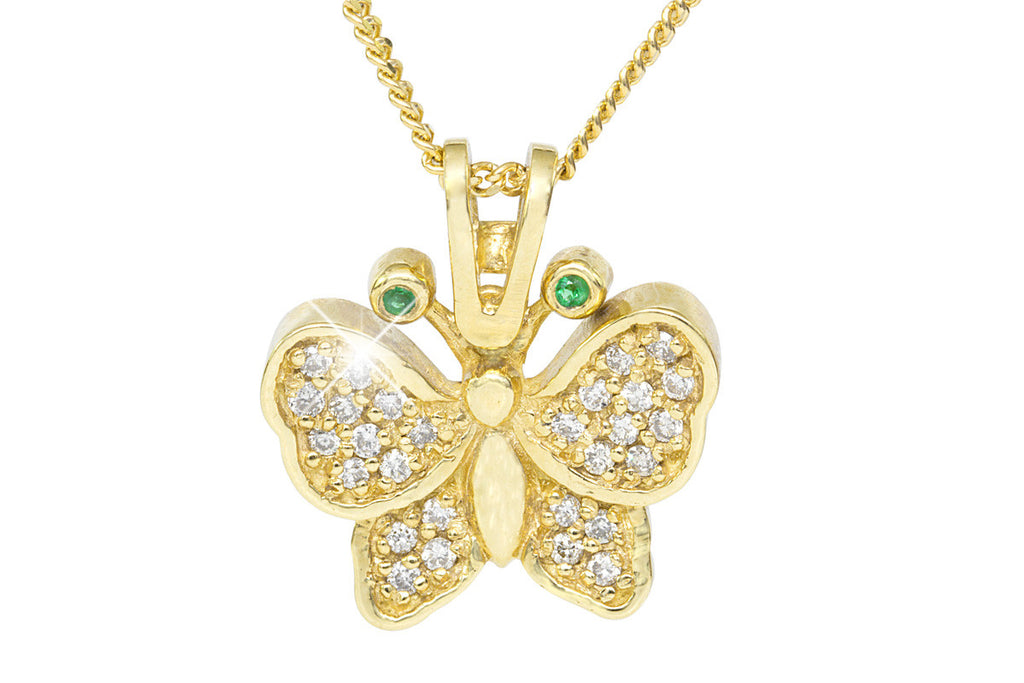 Diamond and Emerald Butterfly 18K Yellow Gold Pendant
