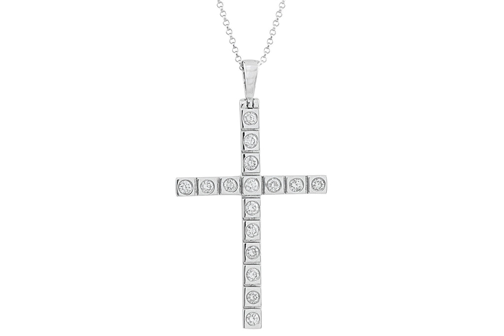 Diamond Cross 18K White Gold Pendant