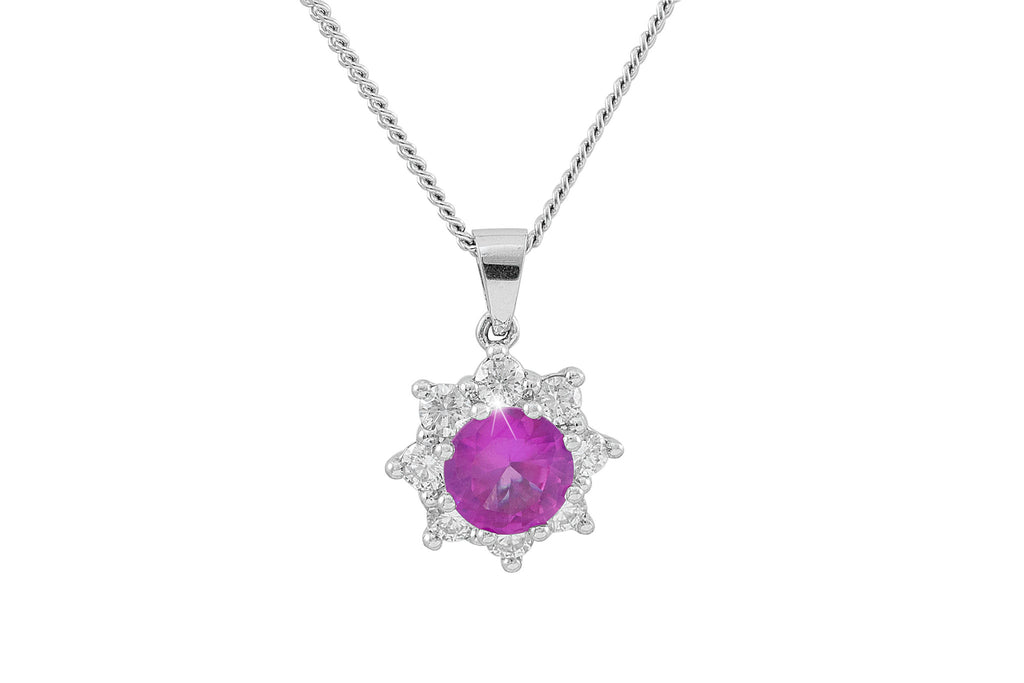 Pink Sapphire and Diamond Cluster 18K White Gold Pendant
