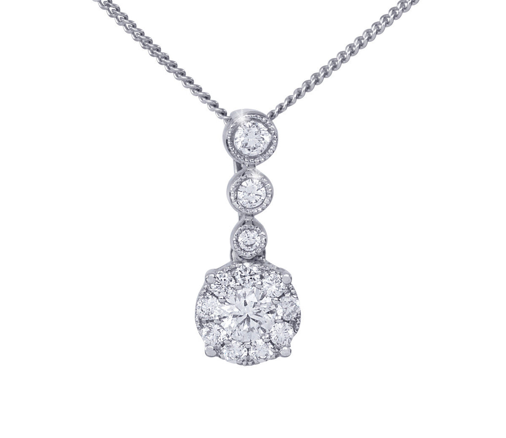 Multi Stone Diamond 18K White Gold Pendant