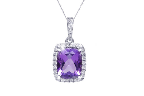 Amethyst and Diamond 18K White Gold Pendant
