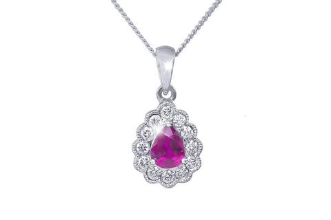 Pear Shaped Ruby and Diamond 18K White Gold Pendant