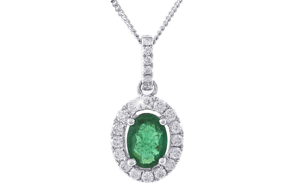Emerald and Diamond 18K White Gold Pendant