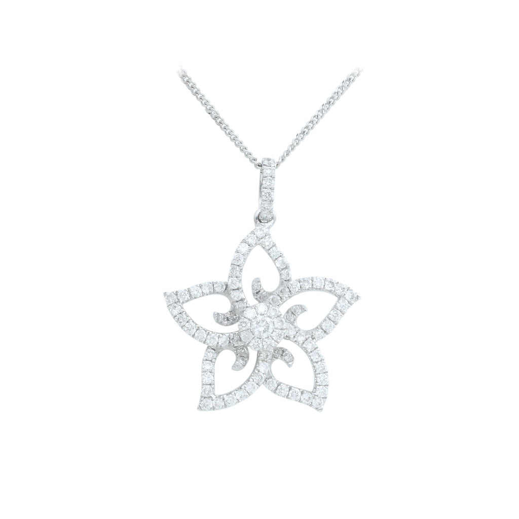 Star Flower 18K White Gold Diamond Necklace