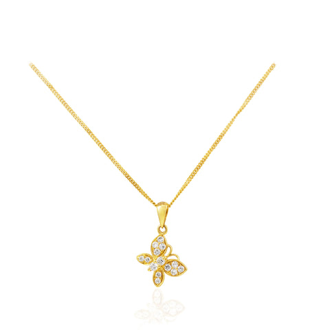Butterfly Diamond 18K Yellow Gold Pendant