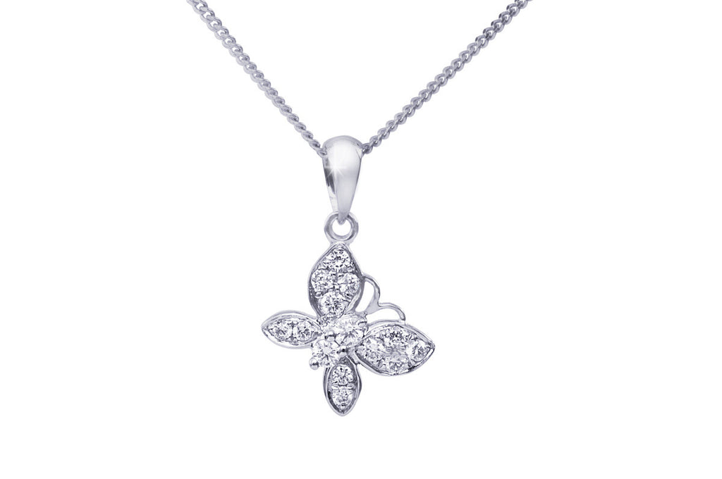 Butterfly Diamond 18K White Gold Pendant